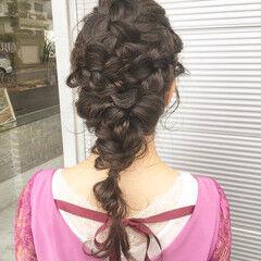 ヘアアレンジ 裏編み込み 結婚式 編み込み ヘアスタイルや髪型の写真・画像