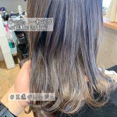 ロング 結婚式ヘアアレンジ インナーカラーオレンジ ブルーブラック ヘアスタイルや髪型の写真・画像