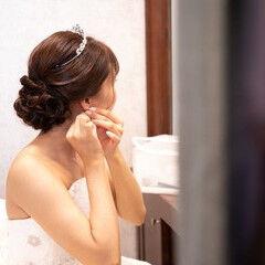 花嫁 セミロング ナチュラル 結婚式髪型 ヘアスタイルや髪型の写真・画像