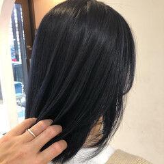 ネイビー ミディアム コリアンネイビー ネイビーアッシュ ヘアスタイルや髪型の写真・画像