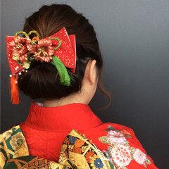 振袖 成人式 セミロング ギブソンタック ヘアスタイルや髪型の写真・画像