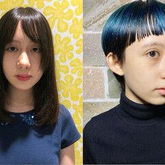 ベリーショート ブルー モード マッシュショート ヘアスタイルや髪型の写真・画像