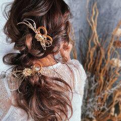 ロング 結婚式ヘアアレンジ 編みおろしヘア ヘアアレンジ ヘアスタイルや髪型の写真・画像