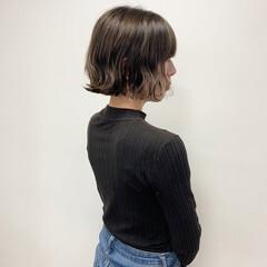 ミニボブ 暗髪 無造作ミックス 外ハネ ヘアスタイルや髪型の写真・画像