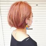 ボブ オレンジカラー ピンク ミニボブ