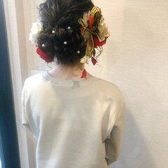 アップスタイル フェミニン アップ セミロング ヘアスタイルや髪型の写真・画像