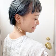 ミルクティーアッシュ アッシュベージュ ショート ミルクティーグレージュ ヘアスタイルや髪型の写真・画像