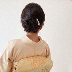 エレガント 訪問着 結婚式ヘアアレンジ 和装ヘア ヘアスタイルや髪型の写真・画像