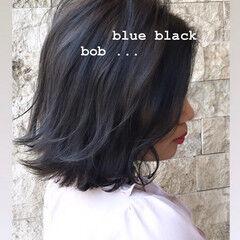 ブルージュ 外ハネボブ 暗髪 ブルー ヘアスタイルや髪型の写真・画像