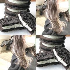 ミディアムヘアー ミルクティーブラウン ミディアム ミルクティーアッシュ ヘアスタイルや髪型の写真・画像