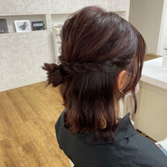 ナチュラル カシスカラー 切りっぱなしボブ おだんご ヘアスタイルや髪型の写真・画像