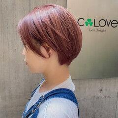 透明感カラー レッドカラー レッドブラウン ショート ヘアスタイルや髪型の写真・画像