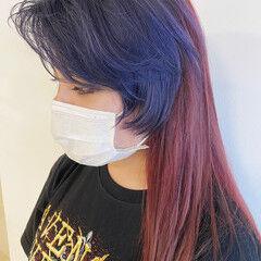 パープルアッシュ モード ツートンカラー ネイビーブルー ヘアスタイルや髪型の写真・画像