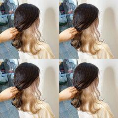 インナーカラー ポイントカラー ホワイトカラー ガーリー ヘアスタイルや髪型の写真・画像