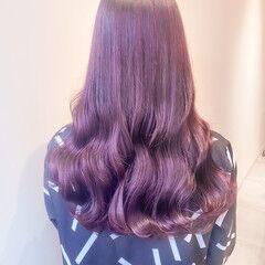 韓国ヘア ラベンダーピンク ラベンダーアッシュ ナチュラル ヘアスタイルや髪型の写真・画像