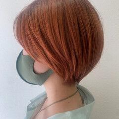 ショートヘア ストリート ショートボブ オレンジカラー ヘアスタイルや髪型の写真・画像