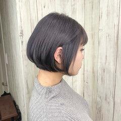 エレガント ブルーバイオレット ミニボブ グレージュ ヘアスタイルや髪型の写真・画像