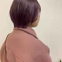 ストリート ラベンダーカラー ラズベリー ショート ヘアスタイルや髪型の写真・画像