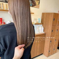 ナチュラル ブリーチなし 透明感カラー シアーベージュ ヘアスタイルや髪型の写真・画像