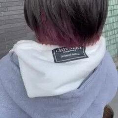 ボブ ショートボブ インナーカラー インナーピンク ヘアスタイルや髪型の写真・画像
