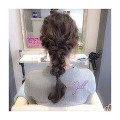 セミロング 簡単ヘアアレンジ 波ウェーブ 編み込み ヘアスタイルや髪型の写真・画像