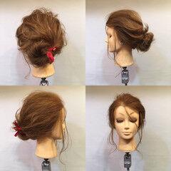 波ウェーブ ヘアアレンジ メッシーバン セミロング ヘアスタイルや髪型の写真・画像