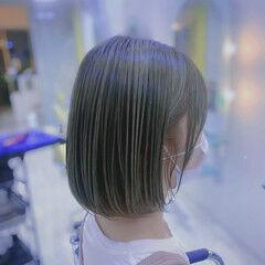 インナーカラー ボブ グリーン ミニボブ ヘアスタイルや髪型の写真・画像
