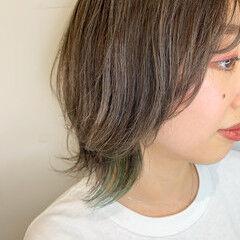 ストリート グレージュ ウルフカット カーキアッシュ ヘアスタイルや髪型の写真・画像