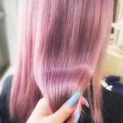 ラベンダーピンク ミディアム フェミニン 髪質改善トリートメント ヘアスタイルや髪型の写真・画像