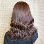 透明感カラー ミディアム 艶髪 ピンクベージュ