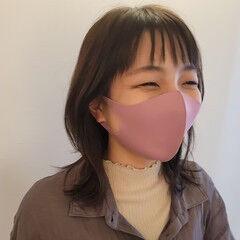 韓国風ヘアー ガーリー ミディアム くびれカール ヘアスタイルや髪型の写真・画像