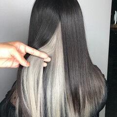 ホワイトベージュ ホワイトアッシュ インナーカラー ホワイト ヘアスタイルや髪型の写真・画像