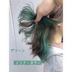 インナーカラー ミディアム おしゃれ 初カラー ヘアスタイルや髪型の写真・画像