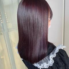 ヘアカラー ピンク ガーリー ラベンダーカラー ヘアスタイルや髪型の写真・画像