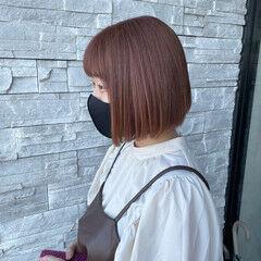 切りっぱなしボブ ボブ ガーリー ピンクベージュ ヘアスタイルや髪型の写真・画像