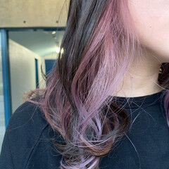 ナチュラル パステルカラー セミロング 透明感カラー ヘアスタイルや髪型の写真・画像