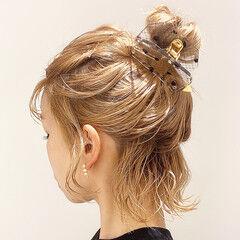 ヘアアレンジ ナチュラル ボブアレンジ 切りっぱなしボブ ヘアスタイルや髪型の写真・画像