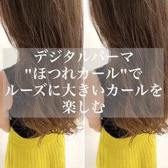 ロング かき上げ前髪 コテ巻き風パーマ デジタルパーマ ヘアスタイルや髪型の写真・画像