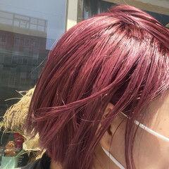 モード ベリーピンク ブリーチ ラベンダーピンク ヘアスタイルや髪型の写真・画像