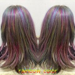 ユニコーン ミディアム ストリート ユニコーンカラー ヘアスタイルや髪型の写真・画像