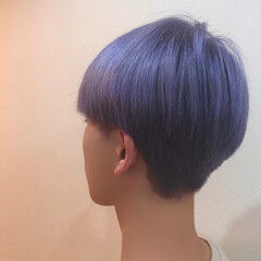ダブルカラー エレガント ショート ブルーラベンダー ヘアスタイルや髪型の写真・画像