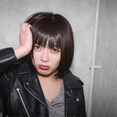 前髪あり 前下がり 黒髪 かっこいい ヘアスタイルや髪型の写真・画像