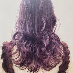 バイオレット 春ヘア フェミニン 暗髪バイオレット ヘアスタイルや髪型の写真・画像