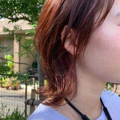 モード オレンジブラウン レイヤーボブ ミディアム ヘアスタイルや髪型の写真・画像