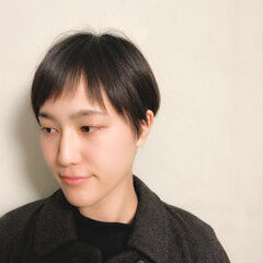 大人ショート ナチュラル ショートバング ショート ヘアスタイルや髪型の写真・画像