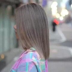切りっぱなしボブ ミディアム ブロンド ブロンドカラー ヘアスタイルや髪型の写真・画像
