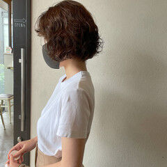 パーマボブ デジタルパーマ ボブ スパイラルパーマ ヘアスタイルや髪型の写真・画像