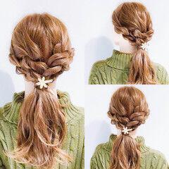 ロープ編みアレンジヘア 簡単ヘアアレンジ ヘアアレンジ ロング ヘアスタイルや髪型の写真・画像