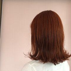 フェミニン ブリーチ アプリコット アプリコットオレンジ ヘアスタイルや髪型の写真・画像