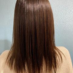 縮毛矯正 髪質改善 髪質改善カラー セミロング ヘアスタイルや髪型の写真・画像